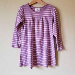 Hanna 5T Purple Stripe Long Sleeves Play Dress